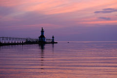 St. Joseph North Pier Lights, built in 1906-1907. Lake Michigan, MI, USA Stock Image
