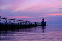St. Joseph North Pier Lights, built in 1906-1907. Lake Michigan, MI, USA Royalty Free Stock Image