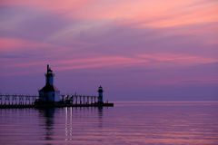 St. Joseph North Pier Lights, built in 1906-1907. Lake Michigan, MI, USA Stock Photo