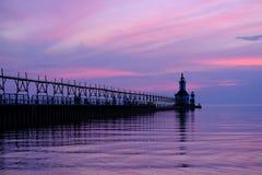 St. Joseph North Pier Lights, im Jahre 1906-1907 errichtet Lizenzfreies Stockbild