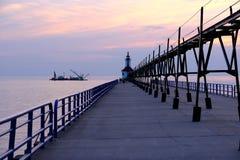 St Joseph North Pier Lights som byggs i 1906-1907 Royaltyfri Bild