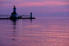 St Joseph North Pier Lights som byggs i 1906-1907 Fotografering för Bildbyråer