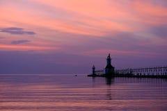 St Joseph North Pier Lights som byggs i 1906-1907 Arkivfoto