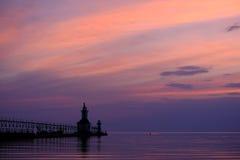 St Joseph North Pier Lights som byggs i 1906-1907 Arkivfoton