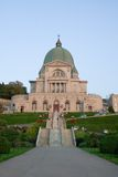 St-Joseph Oratory. Frontal view of the Montreal St-Joseph Oratory illuminated by the setting sun royalty free stock photos