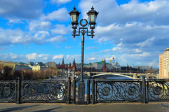 Old style street lamp about Kremlin in Moscow downtown Stock Image