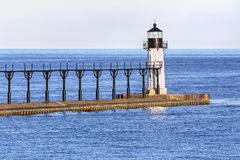 St. Joseph Outer Lighthouse. The St. Joseph North Pier Outer Lighthouse marks the entrance to the town`s harbor on Lake Michigan Stock Photos