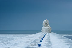 St. Joseph Pier frozen in Winter Royalty Free Stock Image
