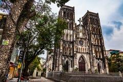 St. Joseph`s Cathedral, Landmark of Hanoi, Vietnam royalty free stock photography
