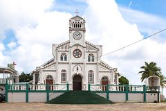 St. Joseph`s Cathedral, the largest church in the town of Neiafu, Vava`u, Tonga Kingdom, Polynesia, Oceania, South Pacific Ocean. Vavau, Tonga - Jan 9 2014: St royalty free stock photo