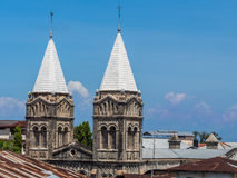 St. Joseph's Catholic Cathedral in Stone Town, Zanzibar. Horizontal photo of the front and the towers of the Roman St. Joseph's Catholic Cathedral in Stone Town stock photo