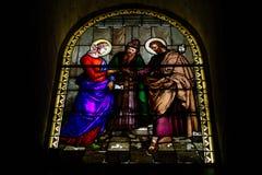 Stained Glass St Joseph's Church, Nazareth, Israel. St Joseph`s Church, Nazareth Israel - the Grotto - Colored glass window The Holy Family`s Wedding Stock Photos