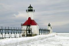 St. Joseph Winter. Ice and Snow on the pier -- St. Joseph, Michigan, USA Stock Image