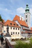 St Jost Church i Cesky Krumlov arkivbilder