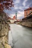 St Jost kerk, middeleeuwse stad Cesky Krumlov royalty-vrije stock foto