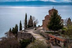 St Jovan金郎教会在早期的春天 库存图片