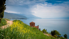 St. Jovan Kaneo church in spring Royalty Free Stock Photography