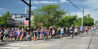 St Jude Rock n Roll Half Marathon Runners Near Finish Line. Runners in the 2019 St. Jude Rock n Roll Half Marathon in Nashville, Tennessee, round the corner to stock image