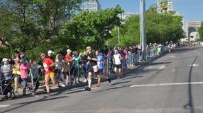 St Jude Rock n Roll Half Marathon Runners Near Finish Line. Runners in the 2019 St. Jude Rock n Roll Half Marathon in Nashville, Tennessee, round the corner to stock photo