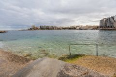 St. Julian`s bay on Malta. Rainy landscape of St. Julian`s bay on Malta island. Beautiful seascape in south Europe Stock Image