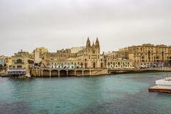 St Julian ` s horizon bij Baluta-Baai, Malta stock foto's