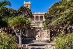 St. Julian's, Malta. 1920s art nouveau mansion Villa Rosa built in park in St. Julian's town by architect Andrea royalty free stock photos