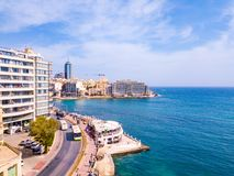 ST.JULIAN`S, MALTA, MAY 15, 2018 - Aerial view on the Spinola Ba. Y with outside pool in St.Julian`s from above - St.Julian`s, Malta Royalty Free Stock Images
