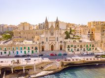 ST.JULIAN`S, MALTA, MAY 15, 2018 - Aerial view on the Spinola Ba. Y with outside pool in St.Julian`s from above - St.Julian`s, Malta Stock Photography