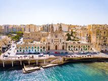 Aerial view on the Spinola Ba. ST.JULIAN`S, MALTA, MAY 15, 2018 - Aerial view on the Spinola Bay with outside pool in St.Julian`s from above - St.Julian`s, Malta Royalty Free Stock Image