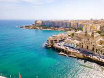 Aerial view on the Spinola Ba. ST.JULIAN`S, MALTA, MAY 15, 2018 - Aerial view on the Spinola Bay with outside pool in St.Julian`s from above - St.Julian`s, Malta Royalty Free Stock Photos