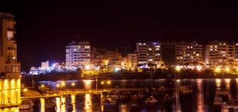 St. Julian's in night, Malta. View of St. Julian's from sea side in night, Malta Royalty Free Stock Photo