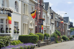 21st of July. Residential street in Malmedy, Belgium decorated with flags for the Belgian National Day, 21st of July Stock Photo