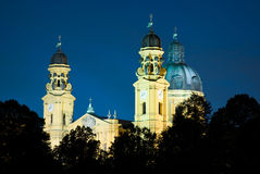 St. Kajetan (Theatinerkirche ) in Munich at night Stock Image
