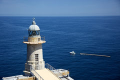 St. Katalina lighthouse and boat Royalty Free Stock Image