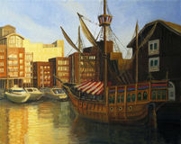 St. Katharine Docks in London. An oil painting on canvas of a late afternoon sunset view at the famous St. Katharine docks in London with preserved old sail ship Stock Images