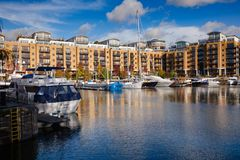 St Katharine Docks London UK Arkivfoto