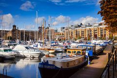 St Katharine Docks London UK Royaltyfria Foton