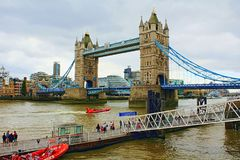 St. Katharine Pier Tower Bridge London United Kingdom. St. Katharine`s Pier is a river transport pier on the River Thames, in London, UK. It is served by various Royalty Free Stock Photos