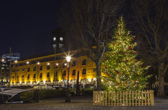 St. Katherine Docks in London During Christmas Royalty Free Stock Photography