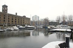 St Katherine Docks with snow and ice, London, UK Stock Photography