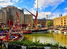 St Katherines Dock London stock image