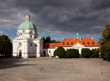 St Kazimierz Church. Saint Kazimierz Church in New Town of Warsaw in Poland across the town square Stock Images