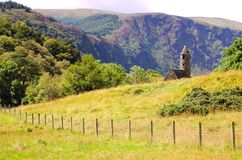 St. Kevin's ancient church. In Glendalough, Wicklow Mountains, Ireland Stock Image