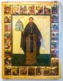 St Khutyn Varlaam与场面的从他的生活 库存照片