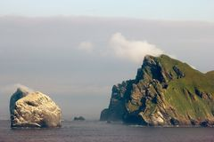 St Kilda archipelago, Outer Hebrides, Scotland. Steep cliffs on the remote island of Hirta St Kilda. The Saint Kilda archipelago contains the largest colony of stock photos