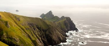 St Kilda archipelago, Outer Hebrides, Scotland. Steep cliffs on the remote island of Hirta St Kilda. The Saint Kilda archipelago contains the largest colony of stock images