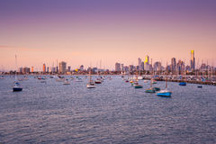 St. Kilda harbour with Melbourne skyline behind Stock Photo