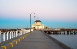 St Kilda Kiosk en salida del sol Fotografía de archivo