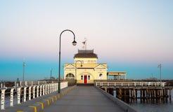 St Kilda kiosk na wschodzie słońca fotografia stock