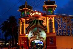 St Kilda na noite, Victoria de Luna Park, Austrália imagem de stock royalty free